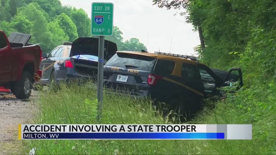 Trooper injured in three-vehicle accident on I-64