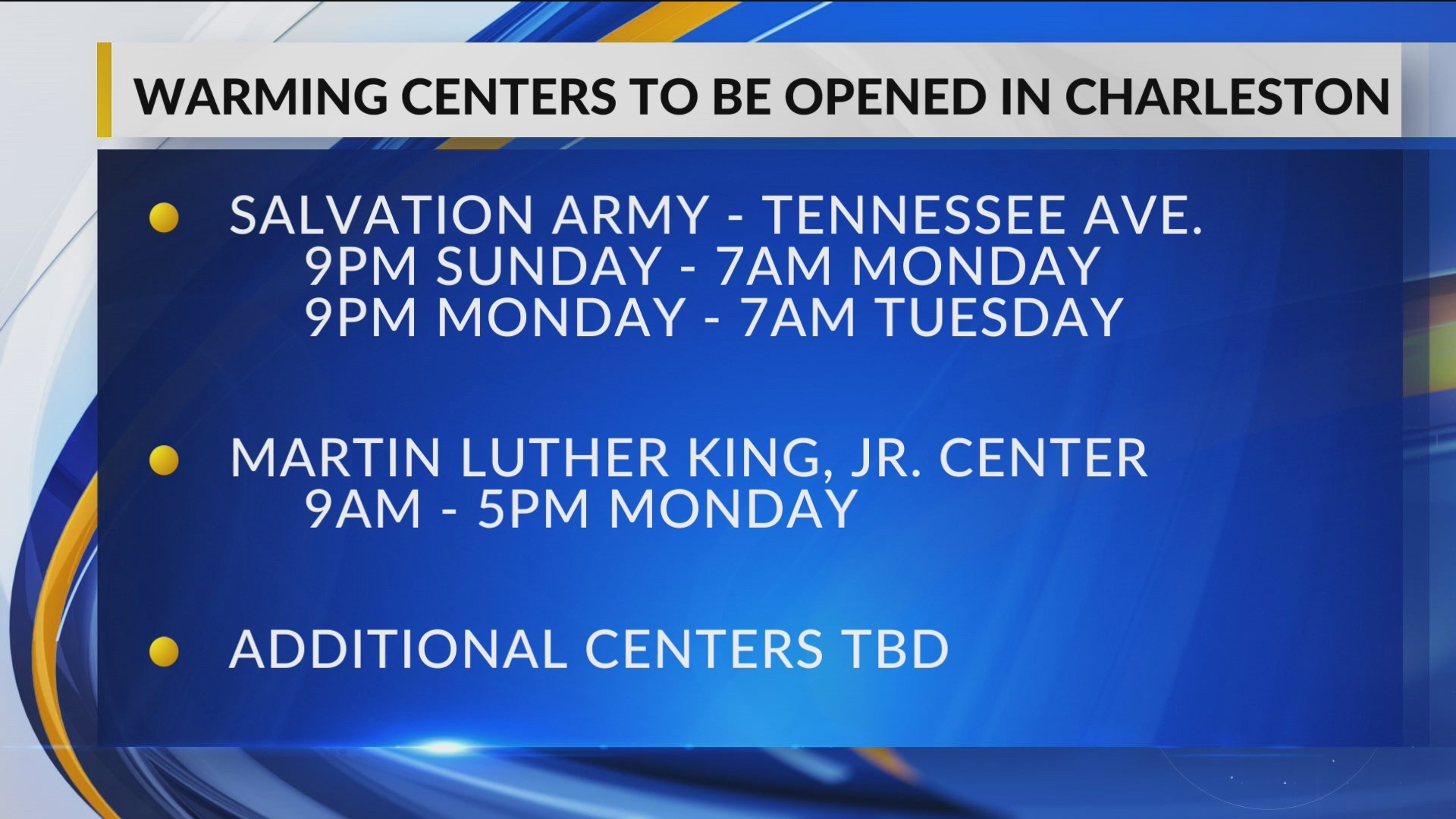 Charleston to Open Warming Centers for Expected Frigid Weekend
