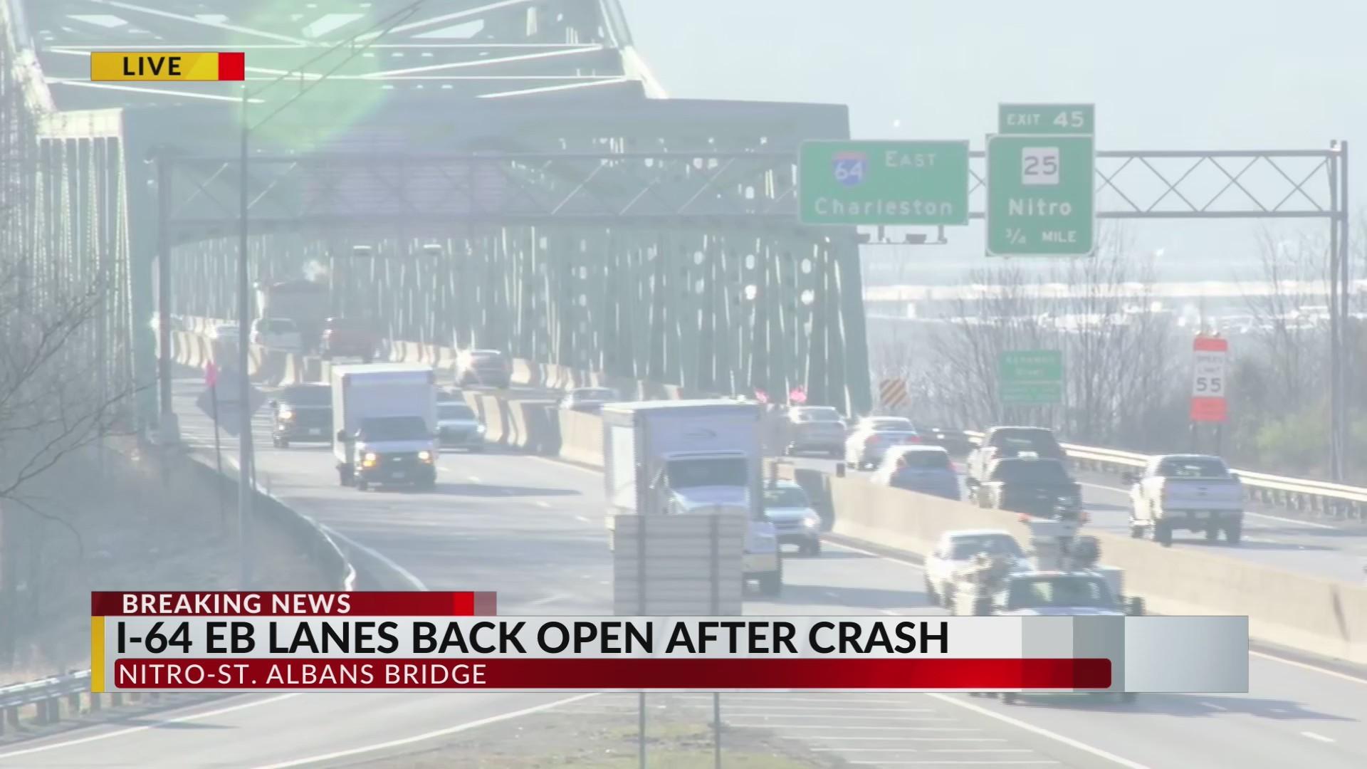 I-64 East Bound Lanes at Nitro Bridge Back Open after Crash
