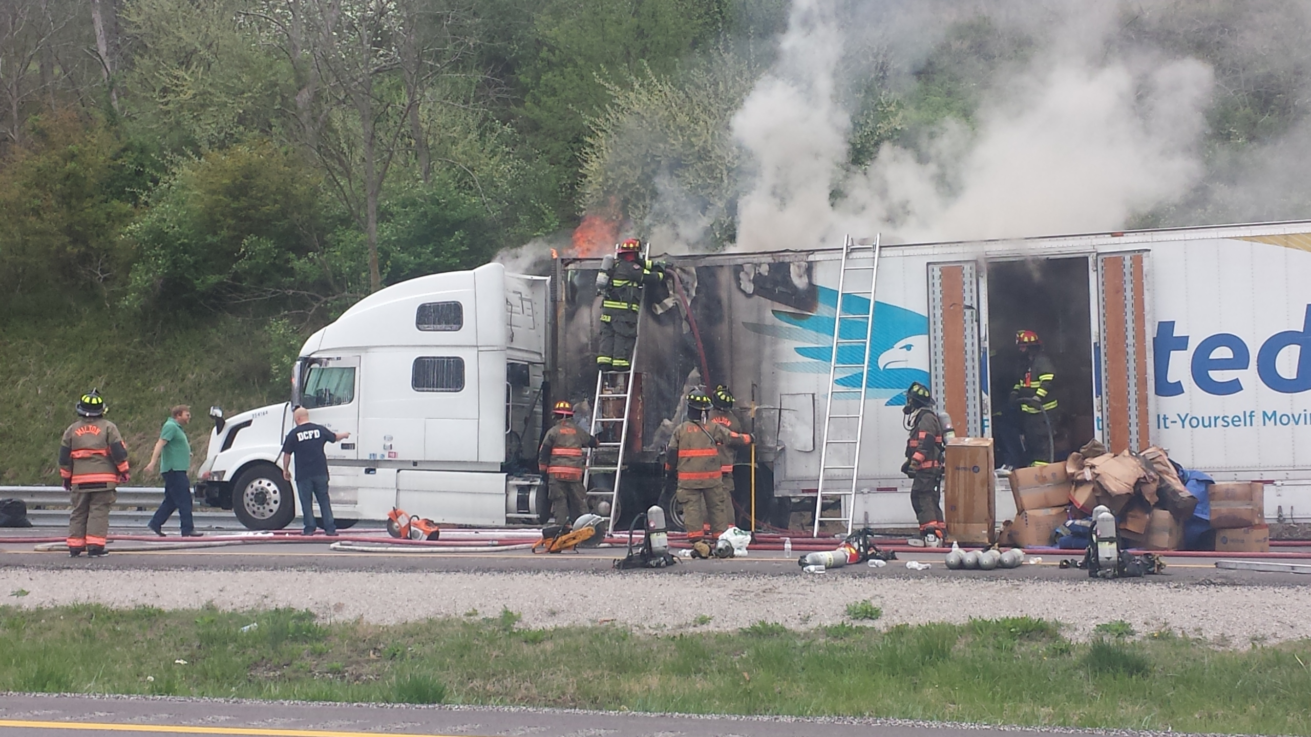 Tractor trailer fire on I-64 near Milton exit
