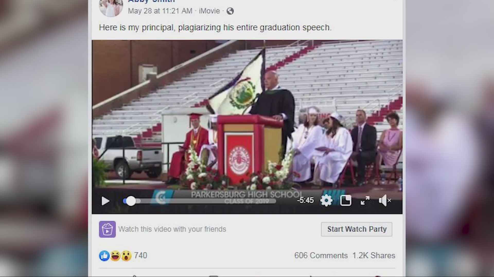 Parkersburg Student Accuses Principal of Plagiarizing Graduation Speech
