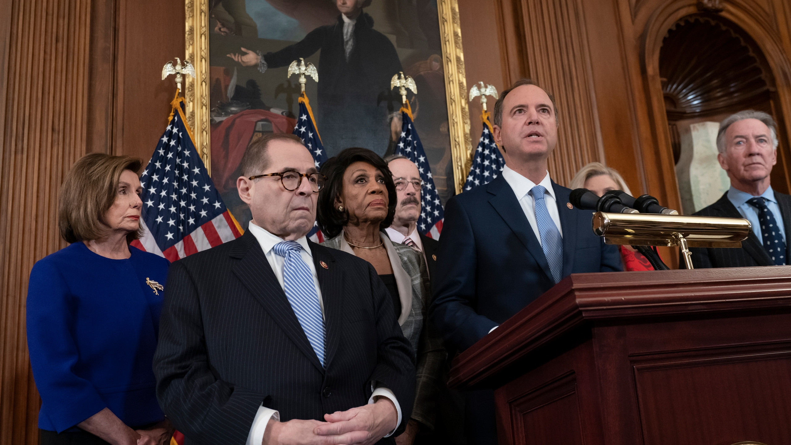Nancy Pelosi, Jerrold Nadler, Adam Schiff, Eliot Engel, Maxine Waters, Richard Neal