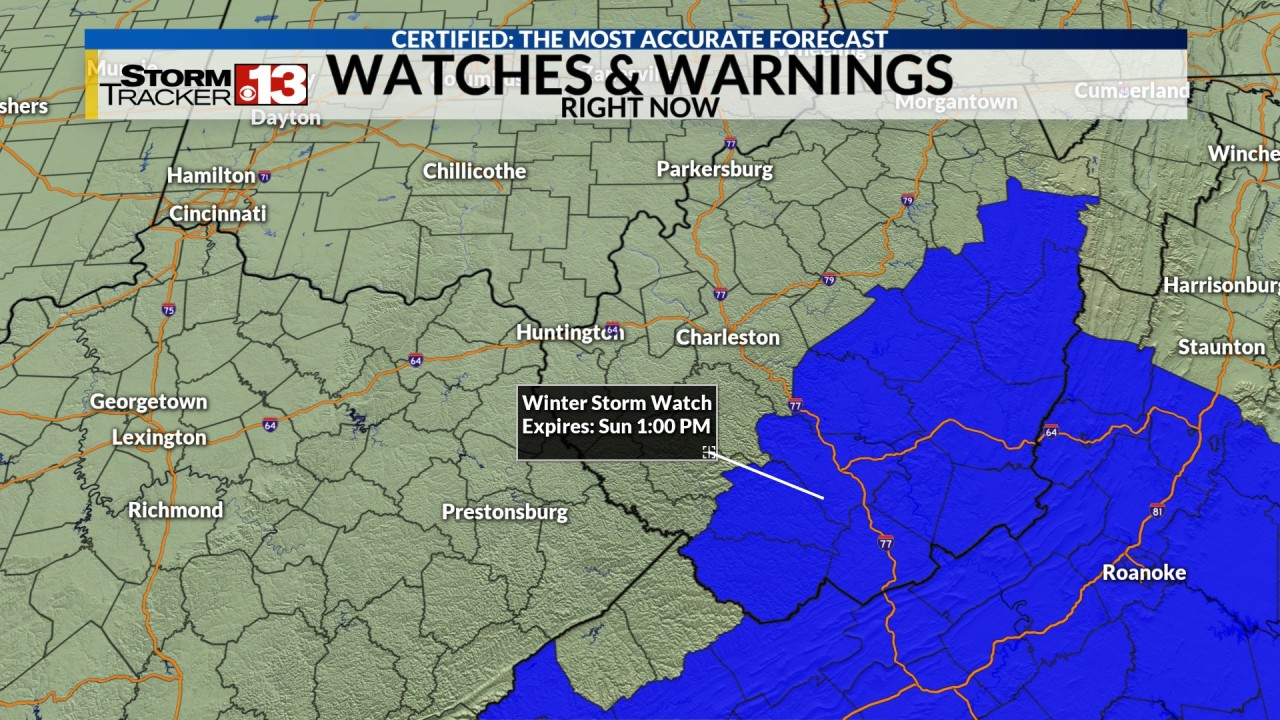 Winter storm watch for parts of West Virginia Saturday night and early Sunday