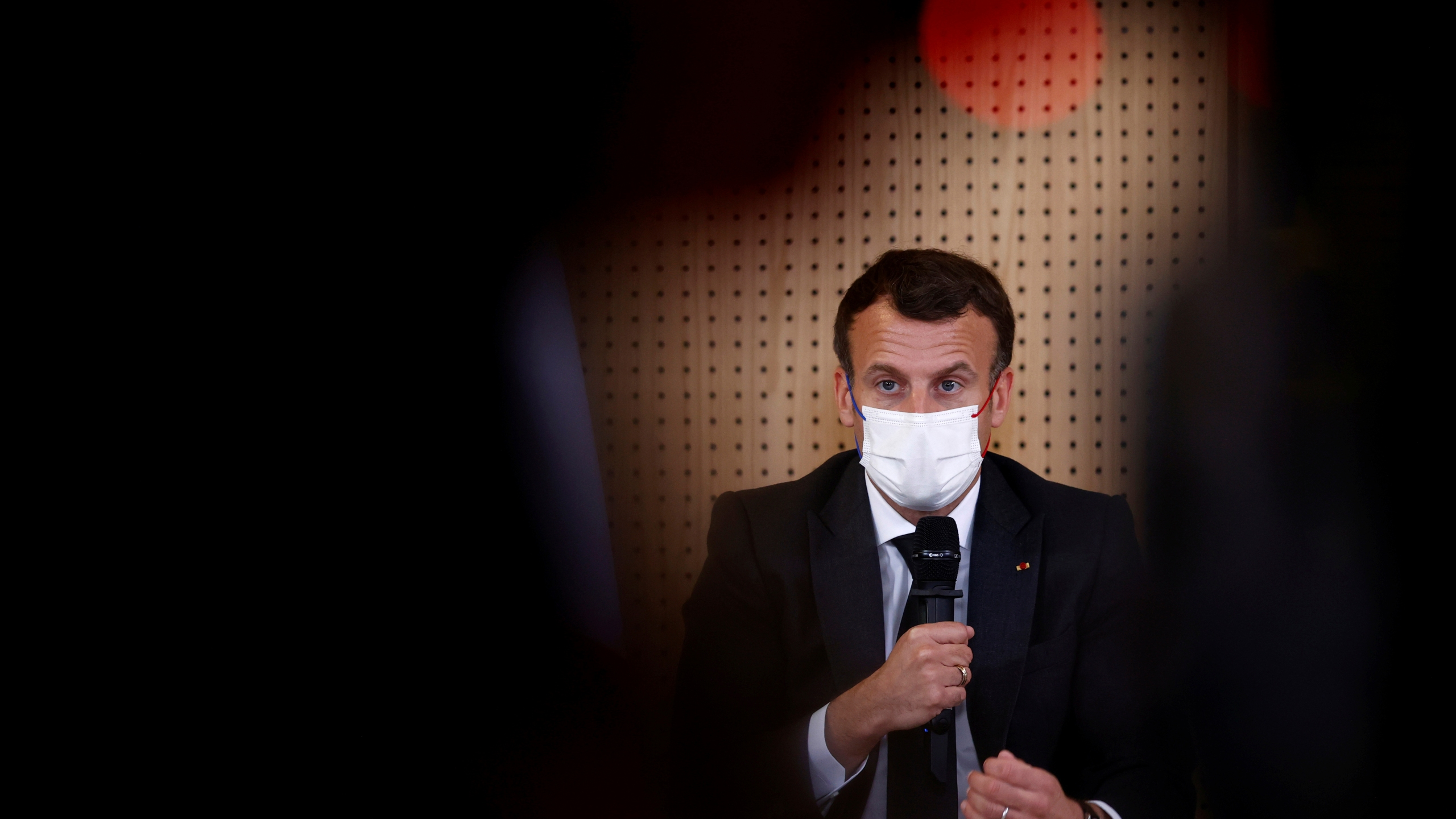 French President Macron visits a child psychiatry department at Reims hospital